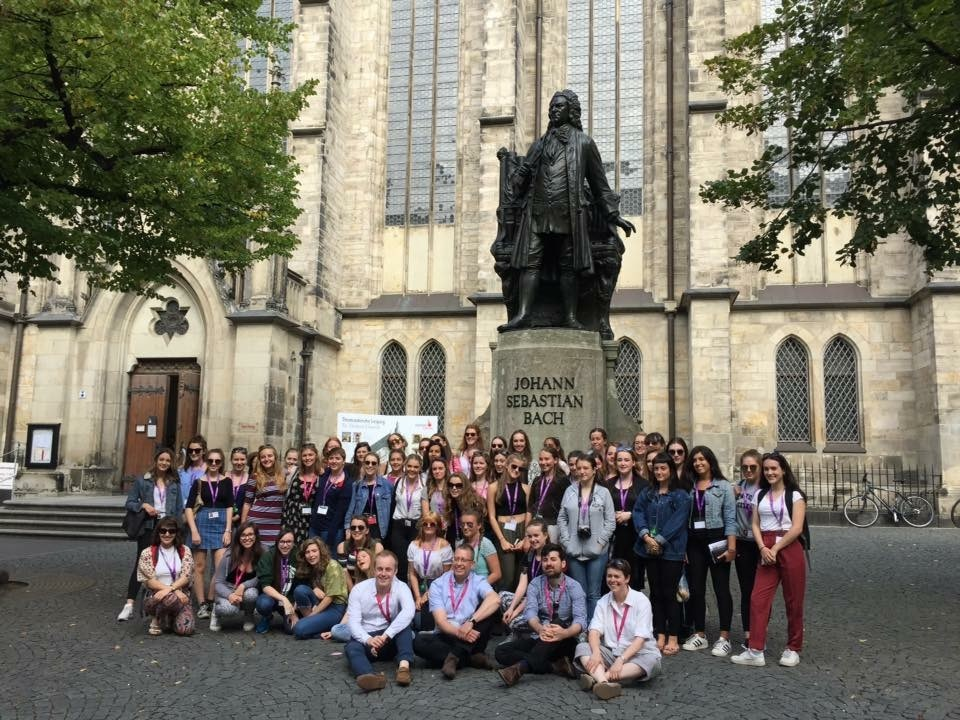 Outside J.S. Bach's statue at the Thomaskirche, Leipzig.