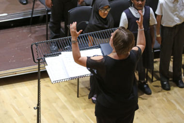 Ula Weber conducting pupils at CBSO Centre.