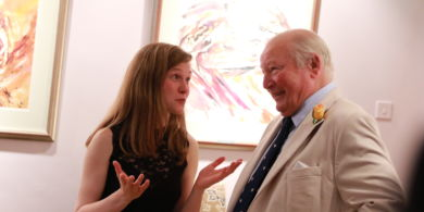 Mirga in conversation with donor Clive Richards.