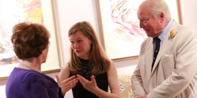 Mirga in conversation with donors Clive and Sylvia Richards.