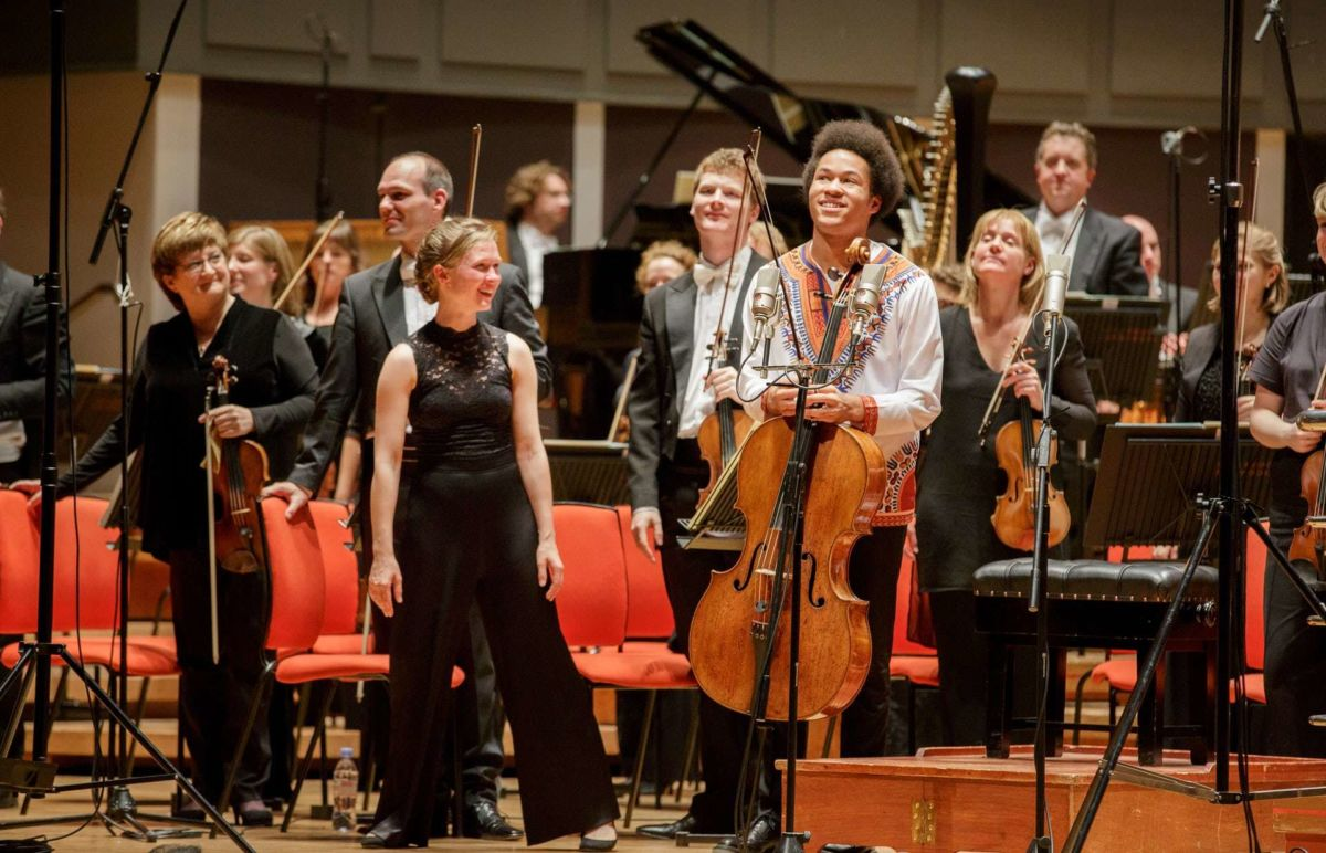 Mirga and Sheku take their bows at Symphony Hall, Birmingham. Credit: Andrew Fox / Observer.