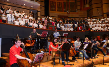 CBSO Musicians joined local children onstage for the project.