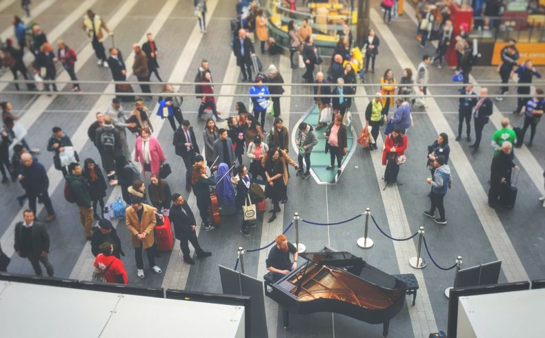 The Debussy Pianoathon in Birmingham New Street Station.